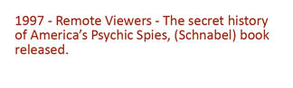 1997 - Remote Viewers - The Secret history of America's Psychic spies, (Schanbel) book is published.